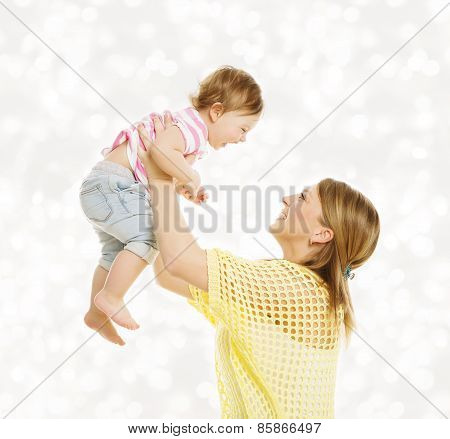 Mother And Baby Family Portrait, Happy Little Kid With Mom, Child And Parent Happiness Concept