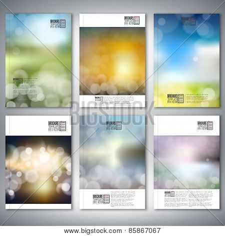 Blurry backgrounds with bokeh effect. Brochure, flyer or report for business, templates vector