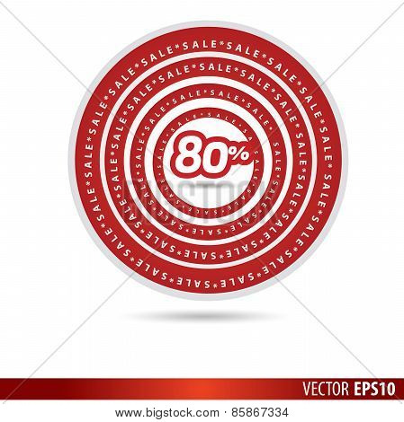 Big Sale Tags With Sale 80 Percent Text On Circle Tags