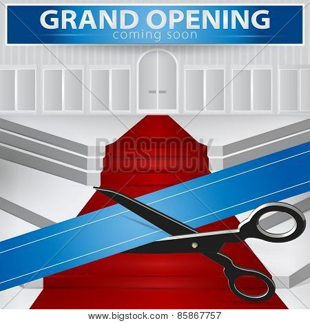 Shop Grand Opening - Cutting Blue Ribbon. Vector , Eps 10.
