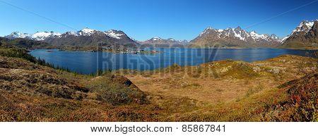 Panoramic View Of Lofoten Mountain