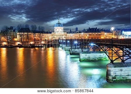 Institut De France Building In Paris, France At Night