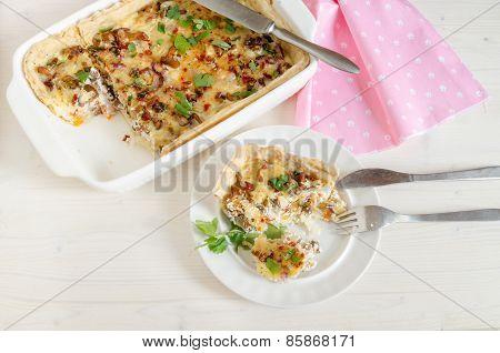 Homemade Mushroom Pie In White Baking Dish. Overhead View