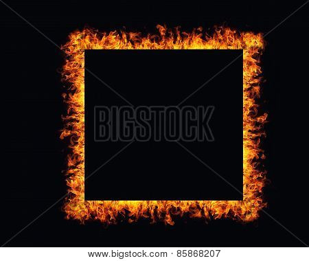 Fire Flames Frame On Black Background