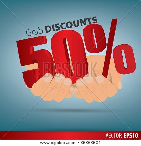 Grab Discounts. Hands Hold 50 Percent Discount. Vector Banner Discount Of 50 Percent. Eps 10