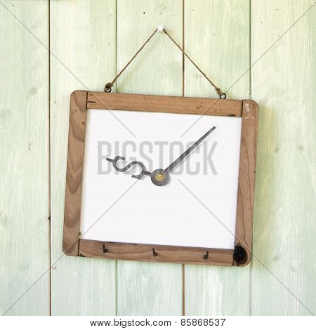Message Board Of Dollar Sign Clock Hanging On Wooden Wall