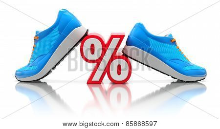 Discount concept with blue sneakers and percent sign