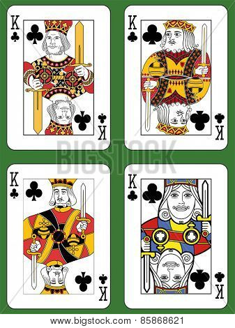 Four Kings of Clubs in four different styles on a green background