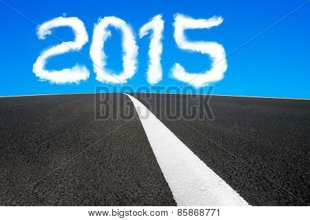 2015 Year Shape Cloud With Asphalt Road And Separation Line
