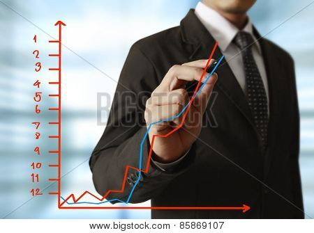 businessman hand writing a business graph on a glass wall