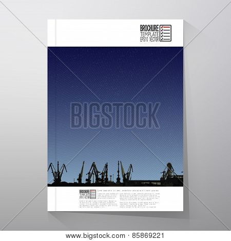 Shipyard, harbor skyline, night design vector. Brochure, flyer or report for business, templates vec