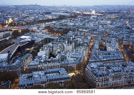 Paris At Sunset With Lights