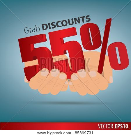 Grab Discounts. Hands Hold 55 Percent Discount. Vector Banner Discount Of 55 Percent. Eps 10