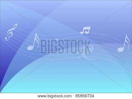 Notes Over Blue Abstract Background