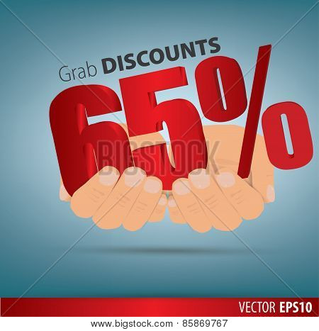 Grab Discounts. Hands Hold 65 Percent Discount. Vector Banner Discount Of 65 Percent. Eps 10
