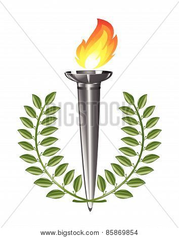 Torch with fire and green laurel wreath