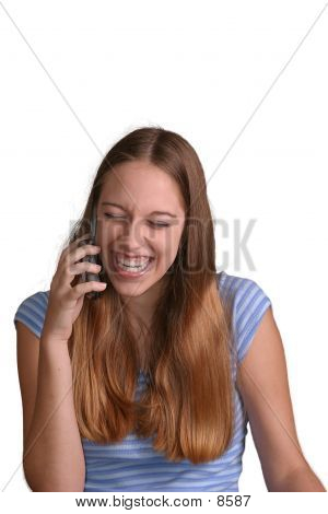Teen Girl Laughing On Phone