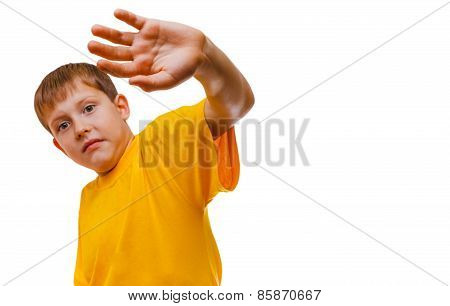 Teenager boy scared concealed hand from hitting domestic violence is isolated on a white background