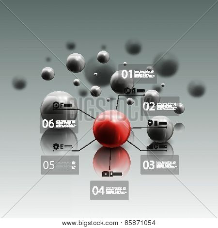Spheres in motion on gray background. Red sphere with infographic elements for business, abstract ge