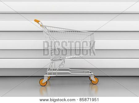 Empty shopping cart in grey studio