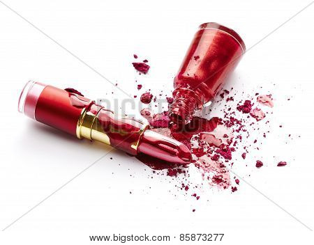 Nail Polish, Eye Shadow And Lipstick