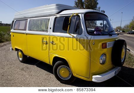 Yellow Classic Volkswagen T1 Side View