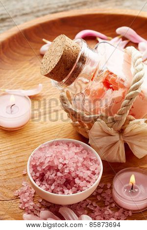 Spa Still Life With Pink Sea Salt And Flower Petals