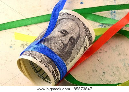 Bundle Of Dollars Tied With Ribbon