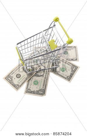 Dollars And Grocery Cart.