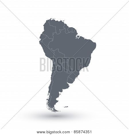 South America map  background . Modern Vector illustration