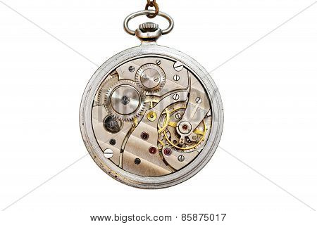 Old Mechanic Pocket Watch Isolated On White