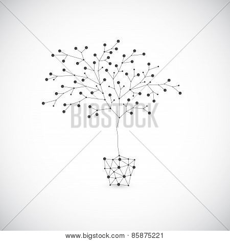 Abstract tree in the flowerpots on gray background