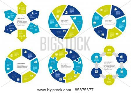 Circular infographic template for cycling diagram, graph, presentation and round chart