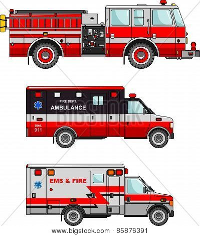 Fire truck and ambulance cars isolated on white background in flat style