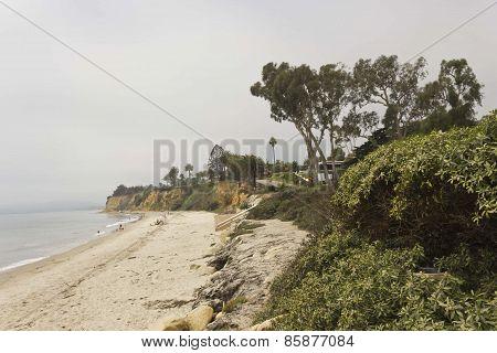 California Coastline in Santa Barbara in a Grey Day
