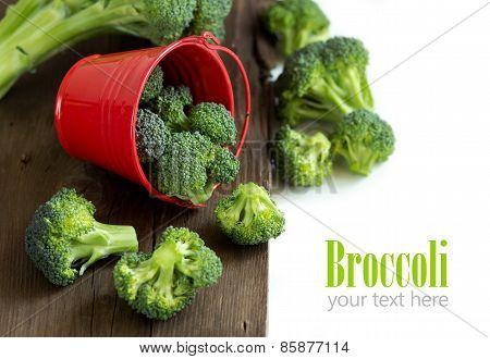 Fresh Broccoli In Red Bucket