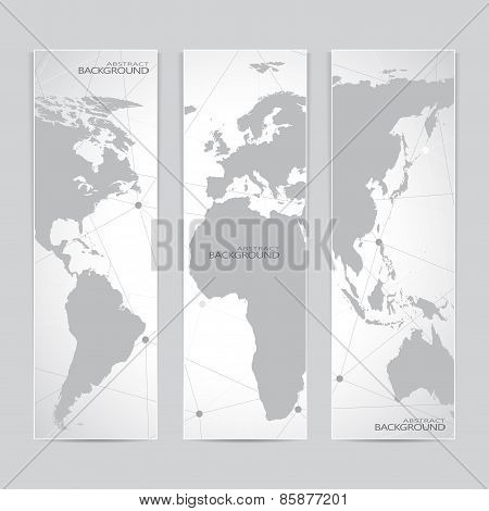 Collection vertical banner design. World Map Molecule and Communication background. Vector illustrat