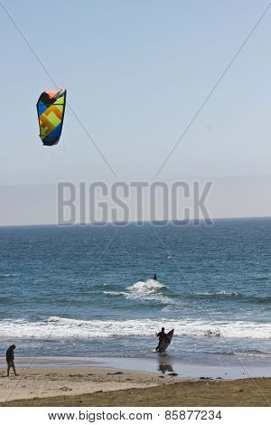 Kite Surfing In The Pacific Ocean