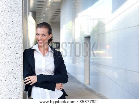 Happy Business Woman Standing Outside