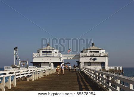 Malibu Pier Promenade In A Sunny Day