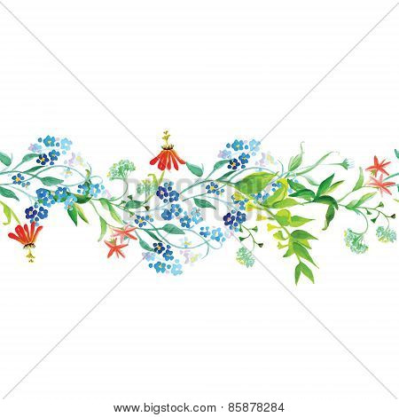 Meadow Flowers Seamless Horizontal Vector Banner