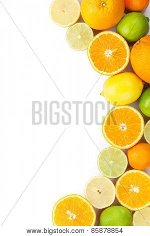 Citrus fruits. Oranges, limes and lemons. Isolated on white background with copy space