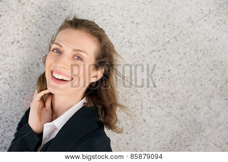 Happy business woman laughing expressing positivity