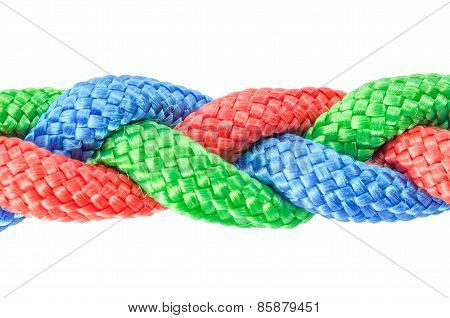 Braided ropes close up isolated on white
