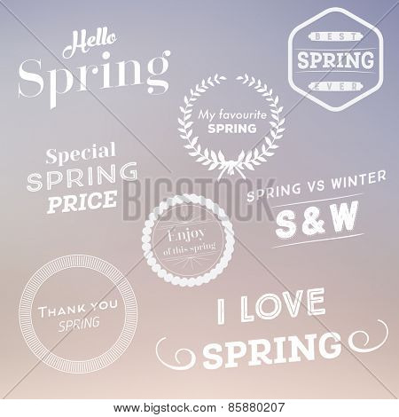 Set of spring typographic design elements