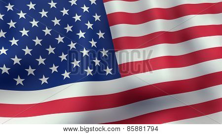 3D rendered waving American flag