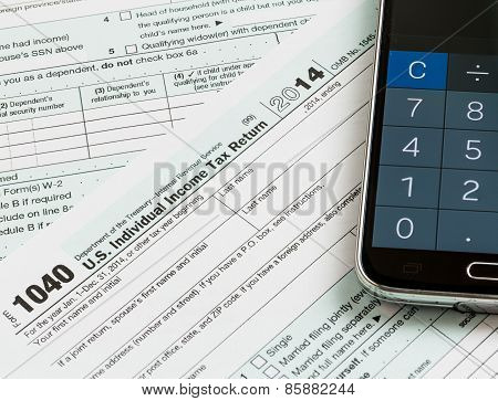 Calculator App Smartphone On 2014 Form 1040