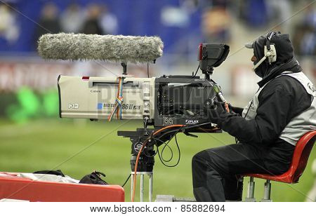 BARCELONA - MAR, 4: Television camera broadcasting football spanish league match at the Estadi Cornella on March 4, 2015 in Barcelona, Spain