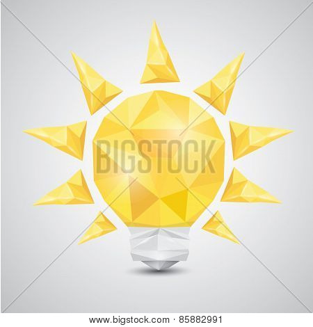 Light bulb vector icon low poly style.