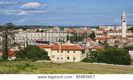 City Of Pula Skyline In Summer